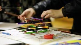 Children Paint Pencils stock video