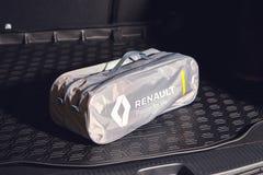 Vinnitsa, Ukraine - April 02, 2019. Renault Logan MCV - new model presentation in showroom - emergency car tool box lying in the royalty free stock photo