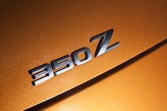 Vinnitsa, Ukraine - 24 avril 2012 Voiture de concept de Logo Nissan 350Z Photographie stock