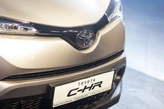 Vinnitsa, Ukraine - December 16, 2016.Toyota C-HR concept car.Fr. Ont of the car,front-side, logo Toyota, showroom.Presentation of the new model Toyota car Royalty Free Stock Images