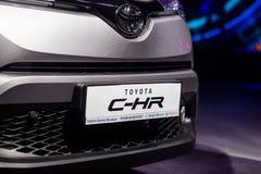 Vinnitsa, Ukraine - December 16, 2016.Toyota C-HR concept car.Fr. Ont of the car,front-side, logo Toyota, showroom.Presentation of the new model Toyota car Stock Photos