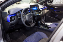 Vinnitsa, Ukraine - December 16, 2016.Toyota C-HR concept car.In. Side the car,steering wheel,interior of the car, logo Toyota, showroom.Presentation of the new Stock Images
