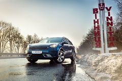 Vinnitsa, Ukraine - February 19, 2017.KIA Niro concept car.Front. Of the car,front-side, logo KIA Niro,logo ECO hybrid, showroom.Presentation of the new model Royalty Free Stock Image