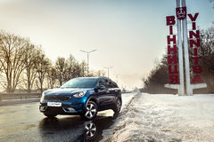 Vinnitsa, Ukraine - February 19, 2017.KIA Niro concept car.Front. Of the car,front-side, logo KIA Niro,logo ECO hybrid, showroom.Presentation of the new model Stock Photography