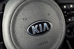 Vinnitsa, Ukraine - February 19, 2017.KIA Niro concept car.Insid. E the car,steering wheel,interior of the carFront of the car, logo KIA Niro,logo ECO hybrid Royalty Free Stock Photo