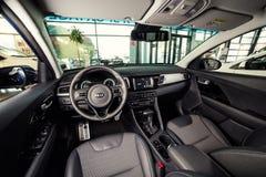 Vinnitsa, Ukraine - February 19, 2017.KIA Niro concept car.Insid. E the car,steering wheel,interior of the car, logo KIA Niro,logo ECO hybrid, showroom Royalty Free Stock Image