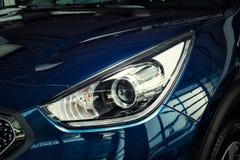 Vinnitsa, Ukraine - February 19, 2017.KIA Niro concept car.light. Car, mirror,Front of the car,front-side, logo KIA Niro,logo ECO hybrid, showroom.Presentation Stock Photo