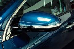 Vinnitsa, Ukraine - February 19, 2017.KIA Niro concept car.light. Car, mirror,Front of the car,front-side, logo KIA Niro,logo ECO hybrid, showroom.Presentation Royalty Free Stock Photography