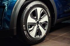 Vinnitsa, Ukraine - February 19, 2017.KIA Niro concept car.wheel. Front of the car,front-side, logo KIA Niro,logo ECO hybrid, showroom.Presentation of the new Royalty Free Stock Images
