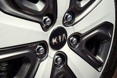 Vinnitsa, Ukraine - February 19, 2017.KIA Niro concept car.wheel. Front of the car,front-side, logo KIA Niro,logo ECO hybrid, showroom.Presentation of the new Stock Images