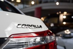 Vinnitsa, Ukraine - January 10, 2018. Toyota Corolla concept car. Logo Royalty Free Stock Images