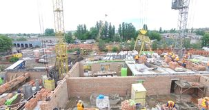 Construction Of A Brick Apartment Building stock video