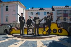 Vinnitsa, Ukraine - May 28, 2018. Monument to the Beatles group royalty free stock image