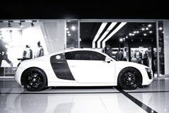Vinnitsa, Ukraine - November 11, 2012.Audi R8 concept car.Audi s. Howroom.Presentation. Presentation of the new model Audi car - Audi R8.Front of the car,front Stock Images