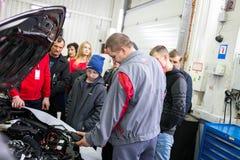Vinnitsa, Ukraine - October 23, 2016.Toyota service center, car. Maintenance, car diagnostics Stock Photos