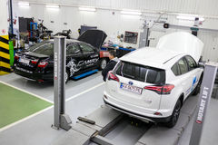 Vinnitsa, Ukraine - October 23, 2016.Toyota service center, car. Maintenance, car diagnostics Stock Images