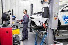 Vinnitsa, Ukraine - October 23, 2016.Toyota service center, car. Maintenance, car diagnostics Royalty Free Stock Photos