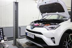 Vinnitsa, Ukraine - October 23, 2016.Toyota service center, car. Maintenance, car diagnostics Stock Photography