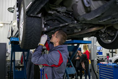 Vinnitsa, Ukraine - October 23, 2016.Toyota service center, car. Maintenance, car diagnostics Royalty Free Stock Images