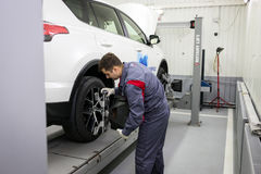 Vinnitsa, Ukraine - October 23, 2016.Toyota service center, car. Maintenance, car diagnostics Royalty Free Stock Image
