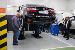 Vinnitsa, Ukraine - October 23, 2016.Toyota service center, car. Maintenance, car diagnostics Stock Photo