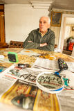 VINNITSY,俄罗斯-未认出的老人Veps -居住在列宁格勒地区疆土的小Finno-Ugric人民  库存图片