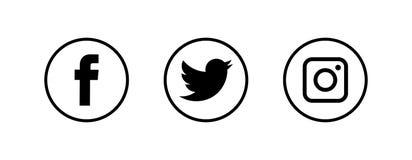 VINNYTSIA UKRAINA, GRUDZIEŃ, - 14, 2018: Ogólnospołeczna medialna logotyp kolekcja drukująca na białej księdze: Facebook, Twitter ilustracji