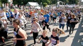 Vinnytsia Ukraina, Maj 26 -, 2019: Tłum który biega na maratonu wydarzeniu ludzie Atlety uczestniczą w dużej rasie zbiory