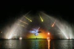 Vinnytsia Ukraina, PAŹDZIERNIK, - 02 2015: multimedialna fontanna budował na rzecznym Południowym Buh w Vinnytsia Zdjęcie Royalty Free