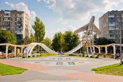 Vinnytsia, Ukraine - August 20, 2018: Reconstruction of the monument on Mogilka Square.