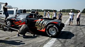 Vinnytsia, Ukraine - July 26, 2015: Rear wheels drag car parked in  a park-service before the races of the Drag championship o stock footage