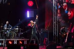 Vinnytsia, Ukraine - 13.10.2018: Oleh Sobchuk, lead singer and frontman of Ukrainian pop-rock group SKAI, event editorial. Vinnytsia, Ukraine - 13.10.2018: Oleh stock photography