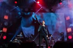Vinnytsia, Ukraine - 13.10.2018: Oleh Sobchuk, frontman of Ukrainian pop-rock group SKAI, Roshen Fountain Season closing concert. Vinnytsia, Ukraine - 13.10.2018 stock images
