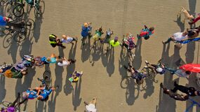 Vinnytsia Ukraine - September 23, 2018: Annual all-Ukrainian cycle. A group of bicycle climbers gathered at the finish.