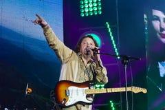 Vinnytsia, Ukraine - 13.10.2018: Taras Chubay, lead singer and frontman of Ukrainian rock group Plach Yeremiyi speaks to audience. At Roshen Fountain Season stock images