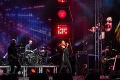 Vinnytsia, Ukraine - 13.10.2018: Ukrainian pop-rock group SKAI giving live performance at Roshen Fountain. Season closing concert, event editorial stock photo