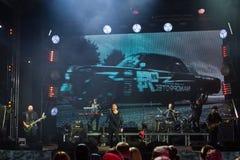 Ukrainian pop-rock group SKAI, live performance at Roshen Fountain Season closing concert, editorial photo. Vinnytsia, Ukraine - 13.10.2018: Ukrainian pop-rock stock photo