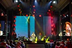 Vinnytsia, Ukraine - 13.10.2018: Ukrainian rock group Plach Yeremiyi with his band at Roshen Fountain Season closing concert. Vinnytsia, Ukraine - 13.10.2018 stock photos