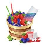 Vino Berry Barrel Immagine Stock