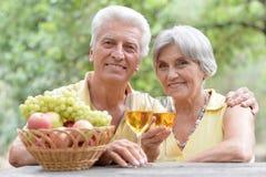 Vino bevente delle coppie anziane Immagini Stock