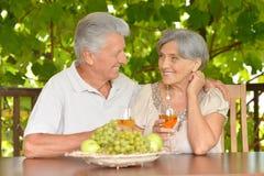 Vino bevente delle coppie anziane Fotografia Stock