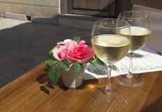 Vino bianco freddo per una soddisfazione di sete Fotografia Stock Libera da Diritti