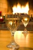 Vino bianco, fuoco caldo Fotografie Stock Libere da Diritti
