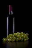 Vino bianco im bottiglia Stockfotos