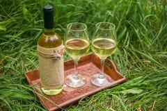 Vino bianco nei vetri di vino e della bottiglia sul vassoio di legno a Fotografia Stock Libera da Diritti