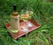 Vino bianco nei vetri di vino e della bottiglia sul vassoio di legno a Immagine Stock Libera da Diritti