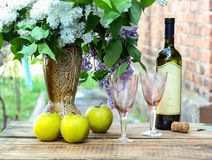 Vino bianco raffreddato Immagini Stock