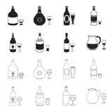 Vino bianco, vino rosso, gin, sangria Icone stabilite della raccolta dell'alcool nel nero, illustrazione delle azione di simbolo  Immagine Stock Libera da Diritti