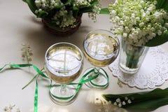Vino blanco en el vidrio Fotografía de archivo libre de regalías