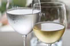 Vino blanco y agua Foto de archivo libre de regalías
